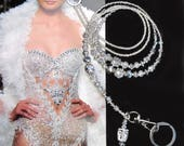 NEW, Lanyard, Silver on silver, metallic, crystals and silver, Luxury lanyard, beaded ID holder, Fashion lanyard, keychain, badge clip