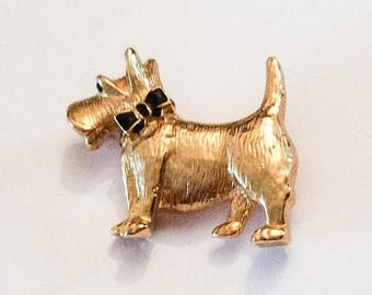 Half Price Sale Scottie Dog Pin or Brooch, Gold Tone, 1950s Vintage Jewelry SUMMER SALE