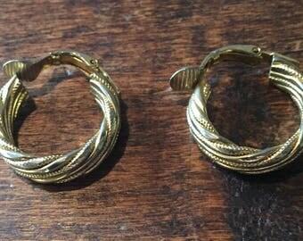 Hoop Earrings, Gold Tone, Vintage Jewelry SUMMER SALE
