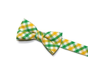 Boys Bow Tie~Easter Bow Tie~Summer Bow Tie~Boys Plaid Bow Tie~Ring Bearer Tie~Wedding Bow Tie~Boys Gift~HoBo Ties~Yellow & Green Bow Tie