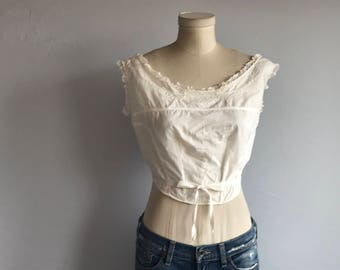 Vintage 1900s Wrap Camisole /  Antique Off White Hand Embroidered Eyelet Lace Brassiere Top / Edwardian Corset Cover