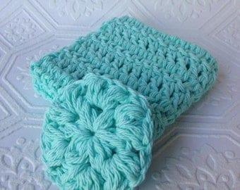 Crochet Face Scrubby and Washcloth set, Blue Bath Set, Bath Accessory, Cotton Set, Reusable, Handmade