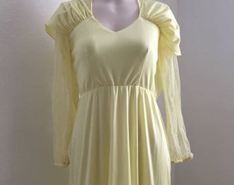 Vintage Yellow Prom Dress, 1970s, Vintage Clothing, Yellow Gown, Vintage Prom Gown