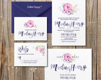 floral wedding invitation, Watercolor printable wedding invitation, cottage chic wedding, calligraphy, save the date, DIY