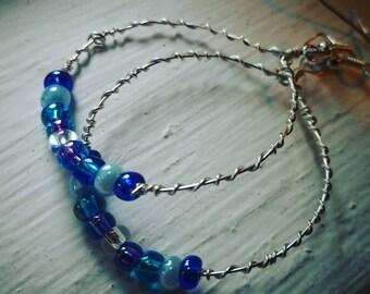Blue Glass Bead Wire Hoop Earrings