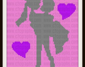 Groom Holding Bride Afghan, C2C Graph, Crochet Pattern, Groom Holding Bride with hearts