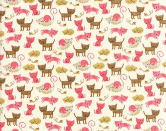 Woof Woof Meow by Stacy Iest Hsu for Moda - Kitty Shenanigans - Pink - FQ - Fat Quarter Cotton Quilt Fabric