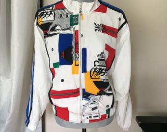 80's Tail Brand Womens Greek Cropped Bomber Jacket S