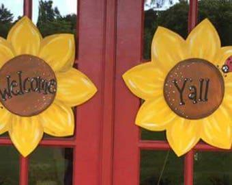 Sunflower with Ladybug Summer Personalized Wooden Door Hanger