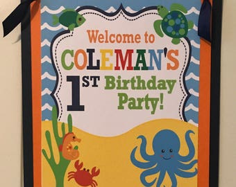 UNDER THE SEA Theme Party Happy Birthday Party or Baby Shower Door or Welcome Sign - Navy Orange Yellow - Party Packs Available