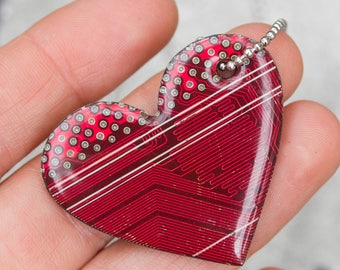 Sample SALE - Red circuit board heart necklace