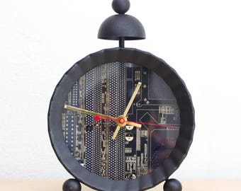Unique Desk / Wall clock - recycled circuit board clock - dark blue circuit board clock- ready to ship c5999