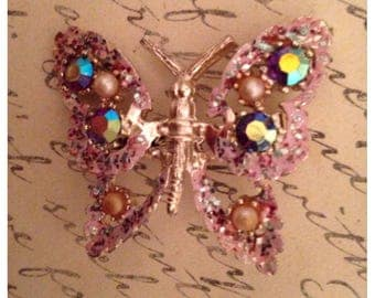 1960 butterfly brooch with AB rhinestones and pearls