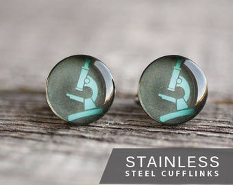 Science cufflink, Stainless steel cuff, Microscope Cuff Link, Wedding cuff links for groom, groomsmen, Gift for Him, for men