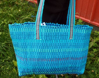 Handwoven turquoise tote bag