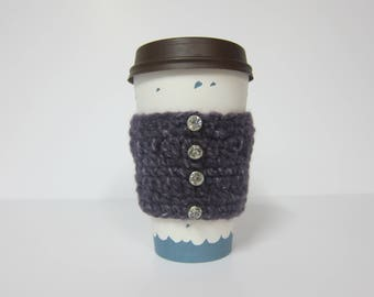 Coffee Cup Sleeve, To Go Cup Cozy, Cozy for Cup, Crocheted Cup Sleeve, Cozy for Travel, Purple Cup Sleeve, Cozies for Coffee, Crochet Cozy