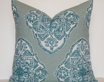 DOUBLE SIDED - IKAT - Decorative Pillow Cover - Lacefield Teal turquoise natural - Toss Pillow - Sofa Pillow