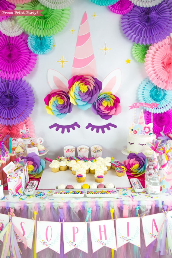 Unicorn Party Decorations Printables Backdrop Giant Unicorn Horn
