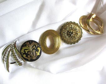 Vintage Scarf Clip Collection Silver Gold Abstract and Filigree Dress Purse or Pocket Jewelry