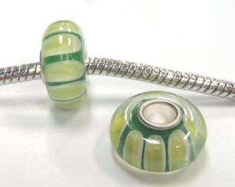 3 Beads - Green Stripes Watermelon Lampwork Glass Silver European Bead Charm E1010