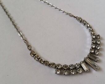 Diamante Necklace - Vintage Rhinestone, Vintage Wedding, Bride, Bridesmaid, Prom Jewellery