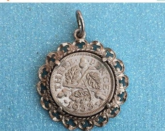 SPRING SALE Silver 1933 Coin Charm or Pendant.- Three Pence Piece in a Coin Mount, Vintage Bracelet Charm