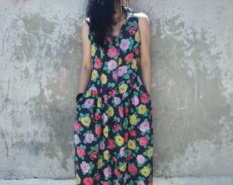Floral Summer Dress - VNTG PolkaDot Floral Dress