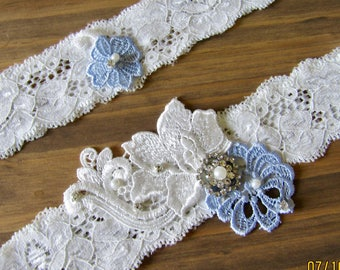 Wedding garter set, Lace garter set, Garter set, Bridal Garter Set, Something Blue garter, Ivory garter set, Wedding garter