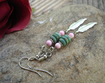 Natural Turquoise Gemstone Boho Feather Earrings, Bohemian Style, Gypsy Jewelry, Turquoise Jewelry, Southwestern Jewelry,Mixed Metal Jewelry