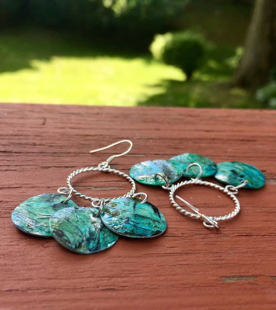"Turquoise ""Simply Chandelier"" Mussel Shell Earrings"