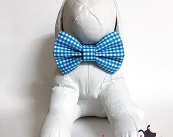 Bright Blue and White Gingham Summer Dapper Dog Bow Tie