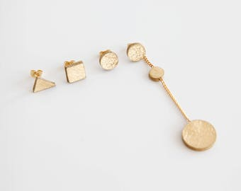 Mismatched gold leather earrings- asymmetrical earrings- mix and match simple geometric earrings- gold stud earring- long statement earrings