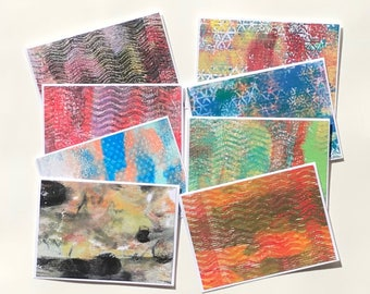 Mini Note Card Set, Paper Handmade Cards, Art Card Set, Gifts for Her, Acrylic Monoprint Cards, Blank Cards, Stocking Stuffer for Women