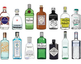 Gin Bottle Illustration Print - Art for Gin Lovers - Kitchen art - Drawing of Alcohol - Chin Chin - Gin Drawing, gin bottles, ginaholic art