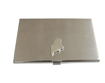 Maine State Map Shape Business Card Holder