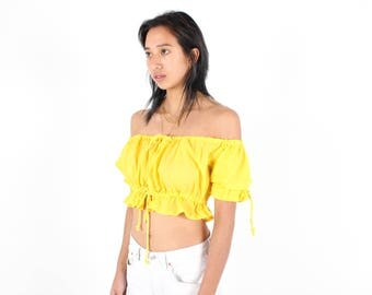Adorable OFF SHOULDER Bright Yellow / Marigold Cotton DOLL Puff Sleeve Super Cropped Crop Top