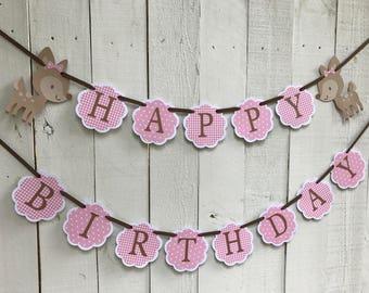 Ready To Ship Birthday Banner, Deer Birthday Banner, 1st Birthday Party Decor, Woodland Birthday, Pink Polka Dot, Pink Gingham,