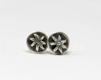 Sterling Silver Flower Stud Earrings with Sterling Silver Posts and Friction Backs in Antique Patina Finish