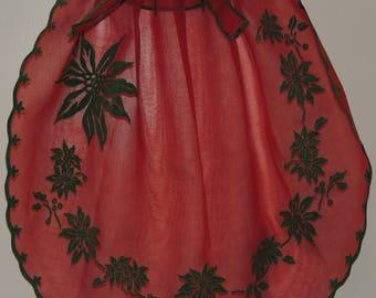 Vintage Red Organdy Christmas Apron Midcentury Half Apron Dark Green Chenille Poinsettias Adjustable Waist Retro Christmas 1950s Christmas