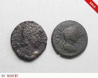 2 Ancient authentic Roman coins, coins for earrings, rings or charms or keep as specimens. (c4471)