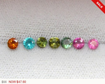 Multi colored 4 mm Tourmaline faceted stones, 7 gemstone lot, natural gemstones, loose gemstone, multi color gemstones (G61471)