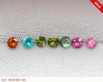 Multi colored 4 mm Tourmaline faceted stones, 7 gemstone lot, natural gemstones, loose gemstone, multi color gemstones (G61471)