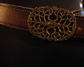 Vintage 1990s Distressed Leather Dark Brown Belt with Ornate Antique Gold Tone Buckle