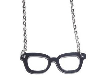 Nerd Glasses Necklace, Black Geek Laser Cut Necklace