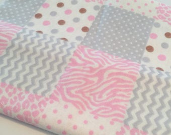 "Pink and Gray Baby Flannel Fabric- 9"" x 40"""