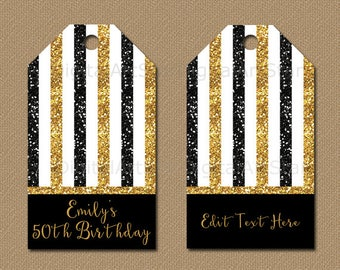 50th Anniversary Tags, 50th Hang Tags, 50th Birthday Thank You Tags Download, EDITABLE Tags, Black and Gold Glitter Party Favor Tags B4