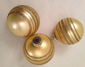 Lot 3 Vintage Frosty Gold Glass Ball Christmas Ornaments w Glitter Stripes