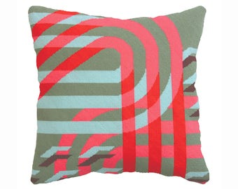 Futura Green, Art Deco style needlepoint / tapestry, cushion / pillow kit