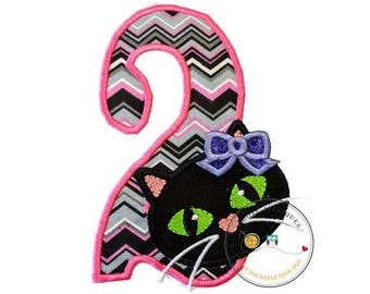 ON SALE NOW Jade kitty face with pink and gray chevron pattern birthday number 2 - iron embroidered fabric applique patch embellishment- rea