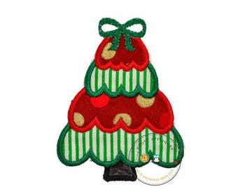 ON SALE NOW Small Christmas tree green and white stripes- iron on embroidered fabric applique patch